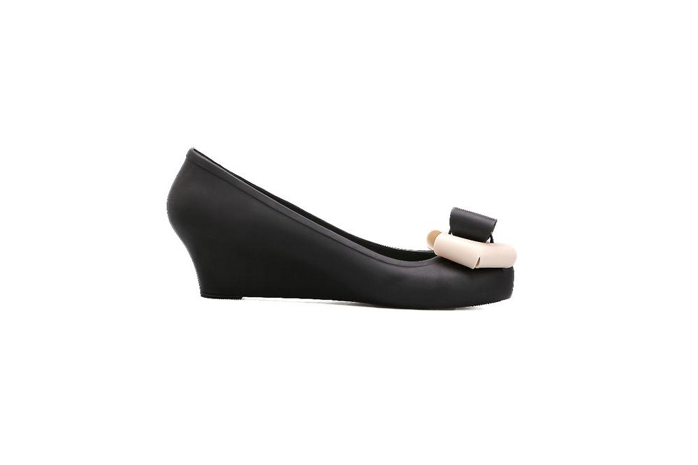 women s jelly bow wedge black pumps women s shoes