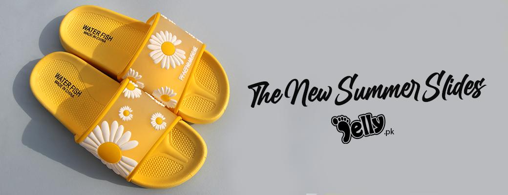 Women's Jelly Flower Summers Yellow Slides   Flats   Women's Shoes